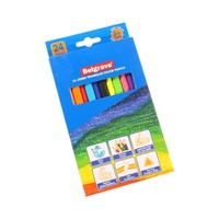 Belgrave Coloured Pencils 83053 Triangular Jumbo Wood Free Assorted Pk24