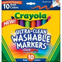 Crayola Washable Broad Marker - 10 Asst Bold Colors