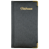 Address Book PU Cover With Gold Corners & Gilt Edge 90 x 160mm Black