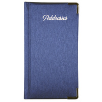 Address Book PU Cover With Gold Corners & Gilt Edge 90 x 160mm Blue