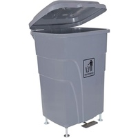 Cleanlink Trolley Bin H/Duty - With Foot Pedal 70Litre Grey