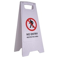 Cleanlink Safety Sign - 32X31X65cm Yellow - No Entry Restricted Area