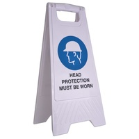 Cleanlink Safety Sign - 32X31X65cm Yellow - Head Protection Must Be Worn