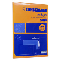 Cumberland Envelopes C4 324x229mm Strip Seal Gold 85gsm 25pk