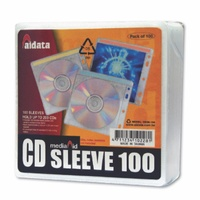 Aurora CD DVD Sleeves Fabric lined Pk100