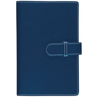 Debden Accent Strap Closure PU Compendium with Notepad Navy 245 X 320mm