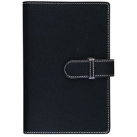 Debden Accent Strap Closure PU Compendium with Notepad Black 245 X 320mm