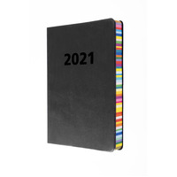 Collins Edge Rainbow Diary A5 Week to a View Charcoal Black 2021 Edition