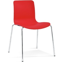 Acti 4C 4 Leg Chair - Chrome Frame With Red Plastic Shell