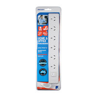 Jackson 6 Way Powerboard Surge and Overload Protected Master On/Off Switch 90cm Lead