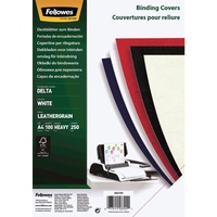 Fellowes Binding Cover Leatherboard 300gsm A4 White Pk100