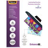 Fellowes Laminating Pouches Imagelast A3 80 Micron Gloss Retail 25Pk