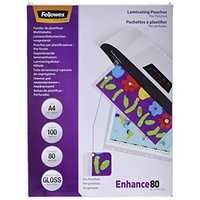Fellowes Laminating Pouches Imagelast A4 80 Micron Pre Punch Holes Gloss 100Pk