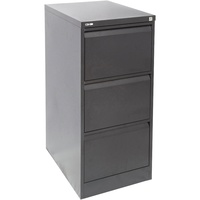 Go Steel 3 Drawer Filing Cabinet (Assembled)  460W X 620D X 1016H - Black Ripple