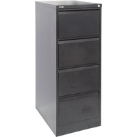 GO Heavy Duty 4 Drawer Filing Cabinet 460W X 620D X 1321H Black Ripple