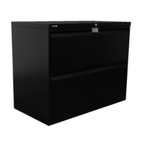 GO Heavy Duty 2 Drawer Lateral Filling Cabinet 705H X 900W X 473D Black Satin