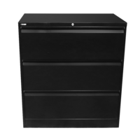 GO Heavy Duty 3 Drawer Lateral Filling Cabinet 1016H X 900W X 473D Black Satin