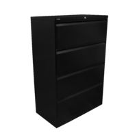 GO Heavy Duty 4 Drawer Lateral Filling Cabinet 1321H X 900W X 473D Black Satin
