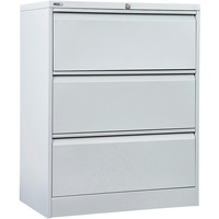 Go Steel 3 Drawer Lateral Filing Cabinet (Assembled)  1016H X 900W X 473D - Silver Grey