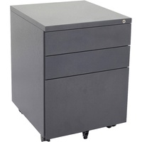 GO Steel Mobile Pedestal 3 Draw (2 Box + 1 File) Graphite Ripple