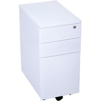 Rapidline 3 Drawer Slimline Steel Mobile Pedestal White