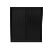 Go Tambour Door Cupboard with 2 Shelves Black 1016mm H x 900mm W x 470mm D