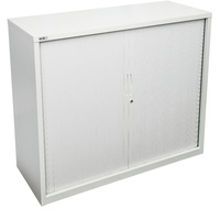 Go Tambour Door Cupboard - White Satin H1016Xw900Xd470mm