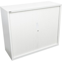 Go Steele Tambour Door Cupboard - H1200Xw1200Xd470mm - White Satin