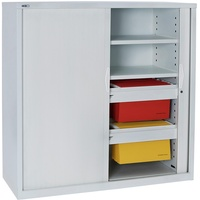 Go Tambour Door Cupboard - White Satin H1200Xw900Xd470mm