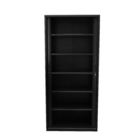 Go Tambour Cupboard with 5 Shelves Black 1980mm H x 900mm W x470mm D