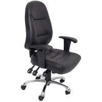 Rapidline High Back Task Chair Black Pu Chrome Base With Arms