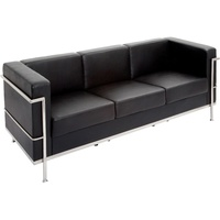 Space Lounge Three Seater PU Finish Chrome Frame Black