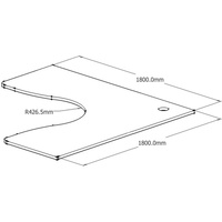 Rapid Span 1800 X 1800 X 700 Corner Top Only (25mm) With Corner Cable Entry - Beech