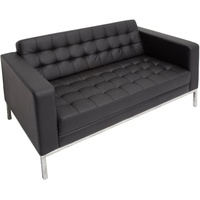 Venus Double Sofa Button PU Finish Chrome Frame Black