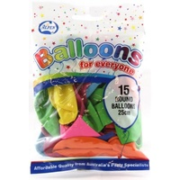 Alpen Balloons 25cm Assorted Colours Pk15
