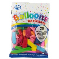 Alpen Modelling Balloons Assorted Colours Pk20