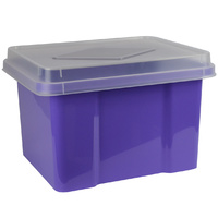 Italplast Storage Box 32Ltr Grape & Clear Lid