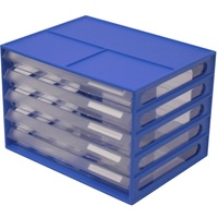 Italplast A4 Document Cabnet - 5 Drawer Blueberry Clear
