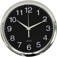 ITALPLAST WALL CLOCK - 30cm Chrome Frame/Black Face