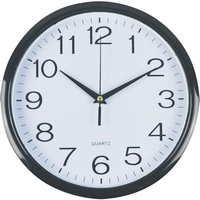 ITALPLAST 30CM WALL CLOCK - Black Frame/White Face