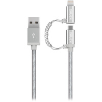 Kanex Premium DuraBraid  Micro-USB ChargeSync Cable with Lightning Adapter - 4 ft/1.2 m, Silver
