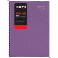 Milford Boston A4 Day To Page Wiro Diary Purple 2020 Edition