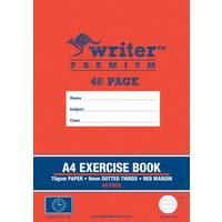 Writer Premium A4 48 Page Exercise Book 9mm dotted thirds and Margin Clock