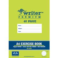 Writer Premium A4 48 Page Exercise Book 18mm dotted thirds and Margin Flags