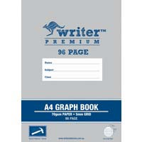 Writer Premium Graph Book Stapled A4 96 Page 5mm Grid Hammer