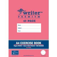 Writer Premium A4 48 Page Exercise Book 18mm Solid Ruled and Margin Bus