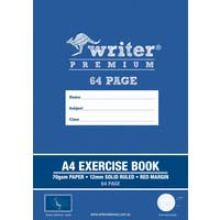 Writer Premium A4 64 Page Exercise Book 12mm Solid Ruled and Margin Ciraffe