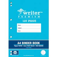 Writer Stapled Binder Book A4 128 Page 8mm Ruled With Red Margin Drums