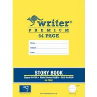 Writer Premium Story Book 64 Page Top 1/2 Plain Bottom 1/2 24mm Solid Ruled and Margin 100gsm Drill