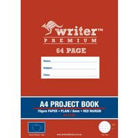 Writer Premium A4 Project Book 64 Page Plain/8mm Ruled and Margin Apple